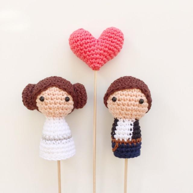 Han And Leia Crochet Cake Toppers Etsy