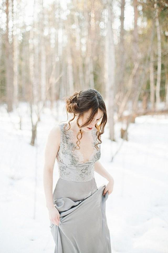 Lace wedding dress grace grey wedding gown bridal for Gray lace wedding dress