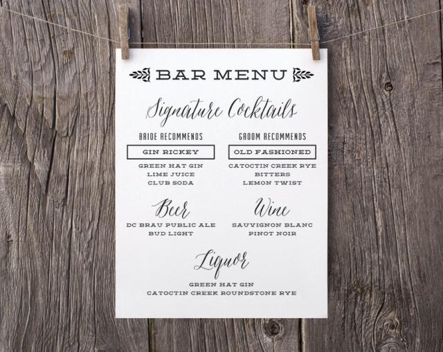 Printable Wedding Signs, Custom Bar Menu Sign, Signature Drinks ...