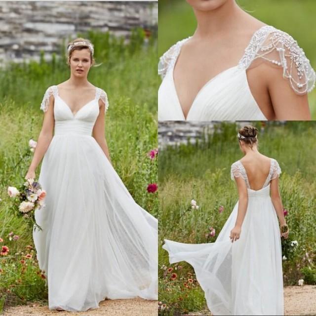 Garden Lihi Hod Wedding Dresses V Neck Cap Sleeve Low Back Pearls