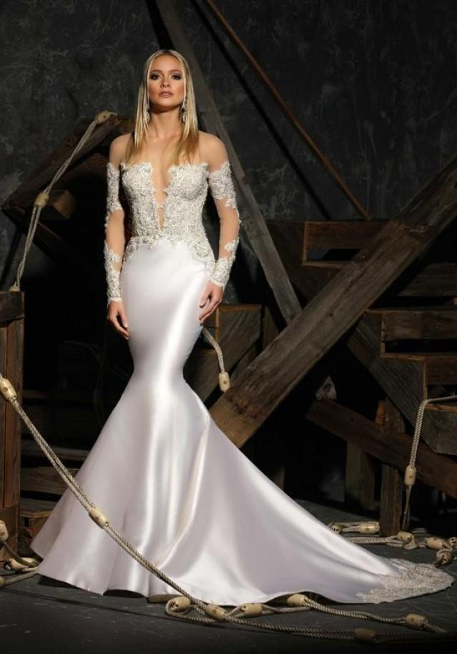 Modern Sexy Mermaid Wedding Dresses Lace Applique 2016 Illusion Bodice Long Sleeves Buttons Sheer Back Bridal Gown Dress Custom Online With 11482 Piece On