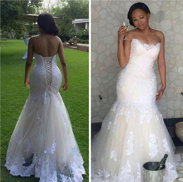 Real picture 2016 white lace mermaid wedding dresses plus for Wedding dresses with lace up back