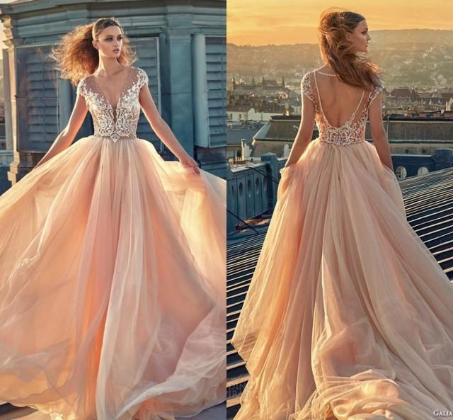 Modest plus size blush lace cap sleeve wedding dresses for Lace blush wedding dress