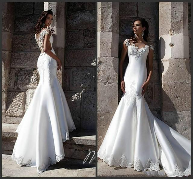 Graceful white satin mermaid wedding dresses sheer for Satin mermaid style wedding dresses
