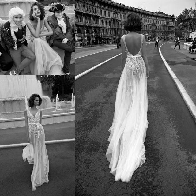 Elegant v neck 2016 boho wedding dresses backless cheap for Backless bohemian wedding dress