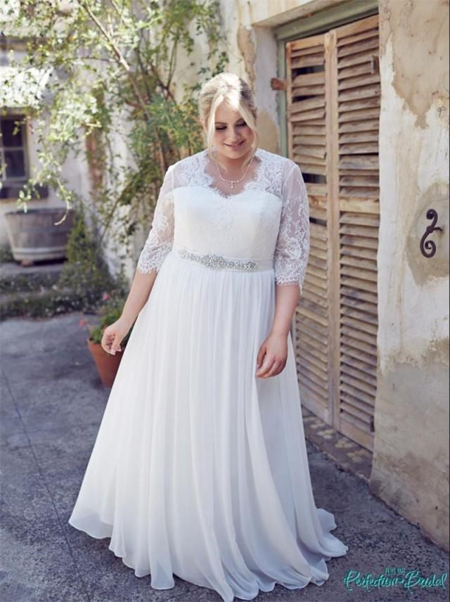 Dramatic plus size white wedding dresses 2016 half sleeve for White wedding dress cheap