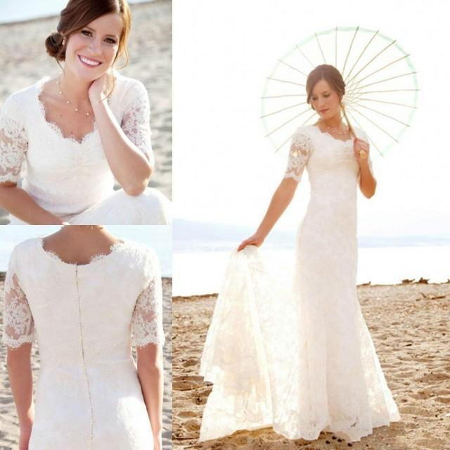 Modest Short Sleeves Wedding Dresses With Applique