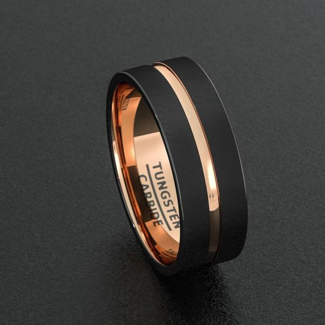 Mens Wedding Band Tungsten Ring Two Tone 8mm Black Brushed Rose Gold Center Groove Flat Edge