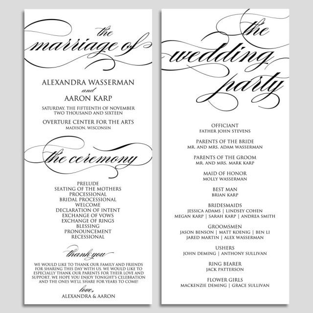 Wedding Program Template Wedding Program Printable Ceremony Printable Template