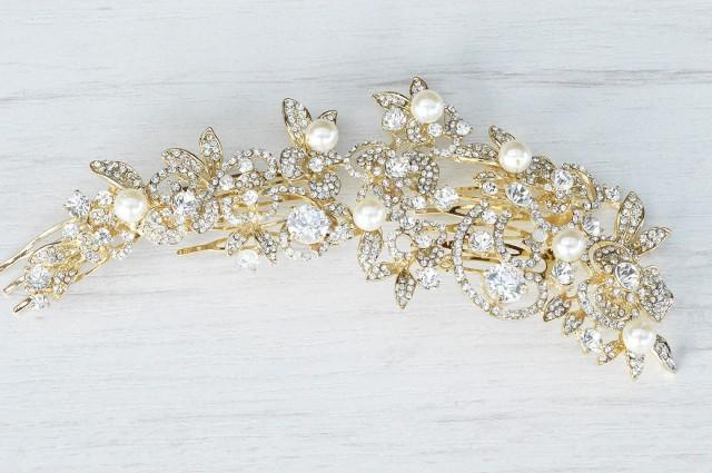Huge GOLD Floral Hair Comb. Bridal Hair Comb. Bridal Accessories NYC. Couture Bridal Hair ...