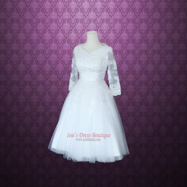 Modest retro 50s tea length lace wedding dress with 3 4 for Vintage t length wedding dresses