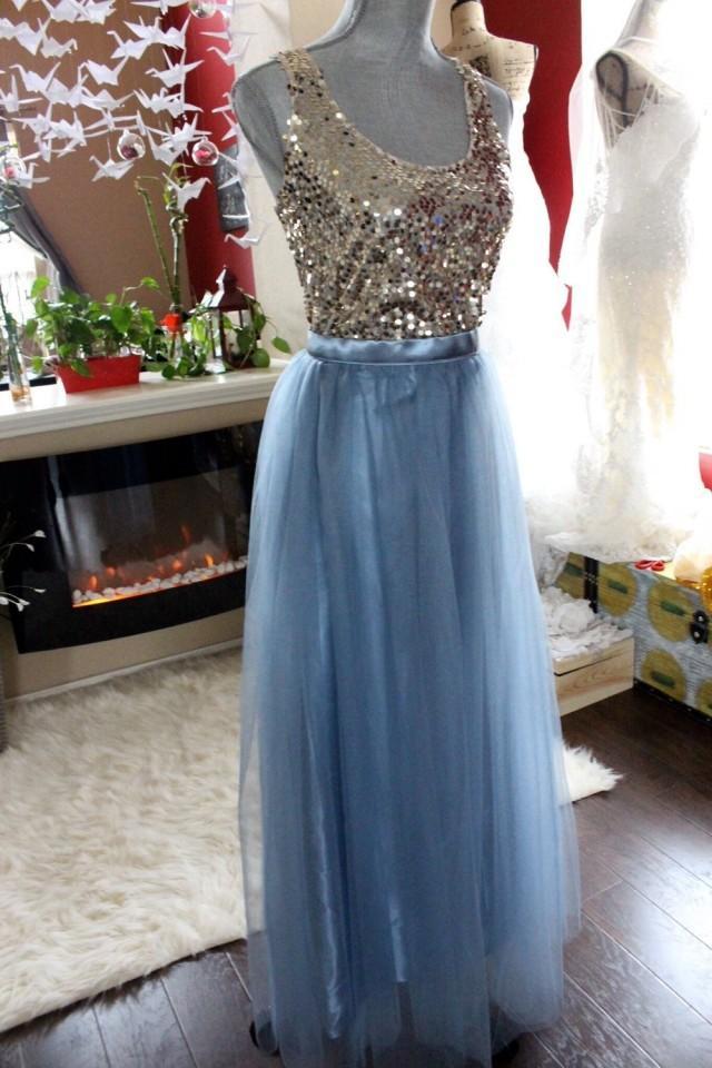 Long maxi tulle skirt grey blue floor length skirt for How to make a long tulle skirt for wedding dress