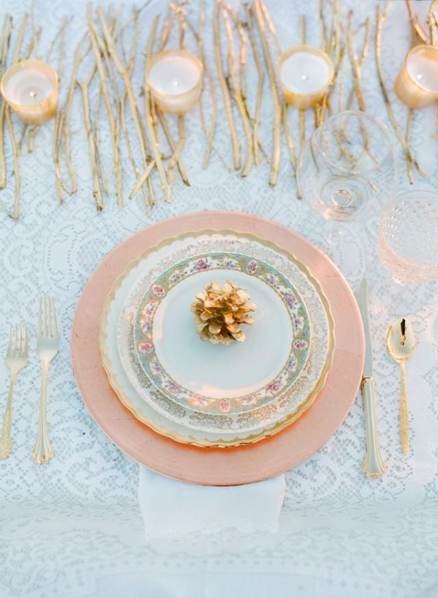 wedding photo - Winter Table Setting With Gold Pinecones And Twigs