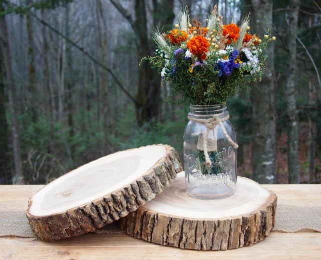 Wood wedding centerpieces natural slices tree