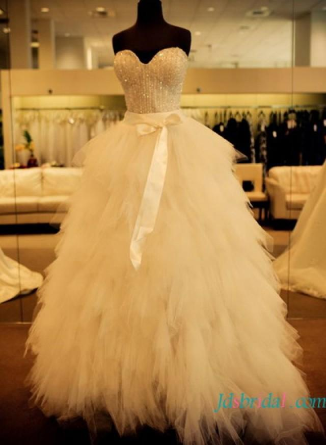 H1640 Sparkle Beading Tulle Wedding Dress Wtih Ruffles