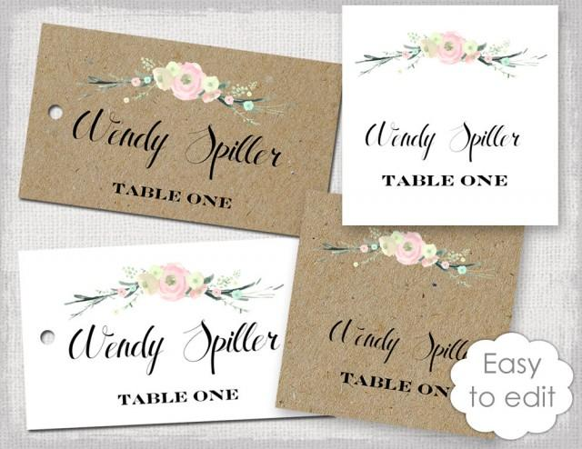 rustic name card template  u0026quot rustic flowers u0026quot  blush pink