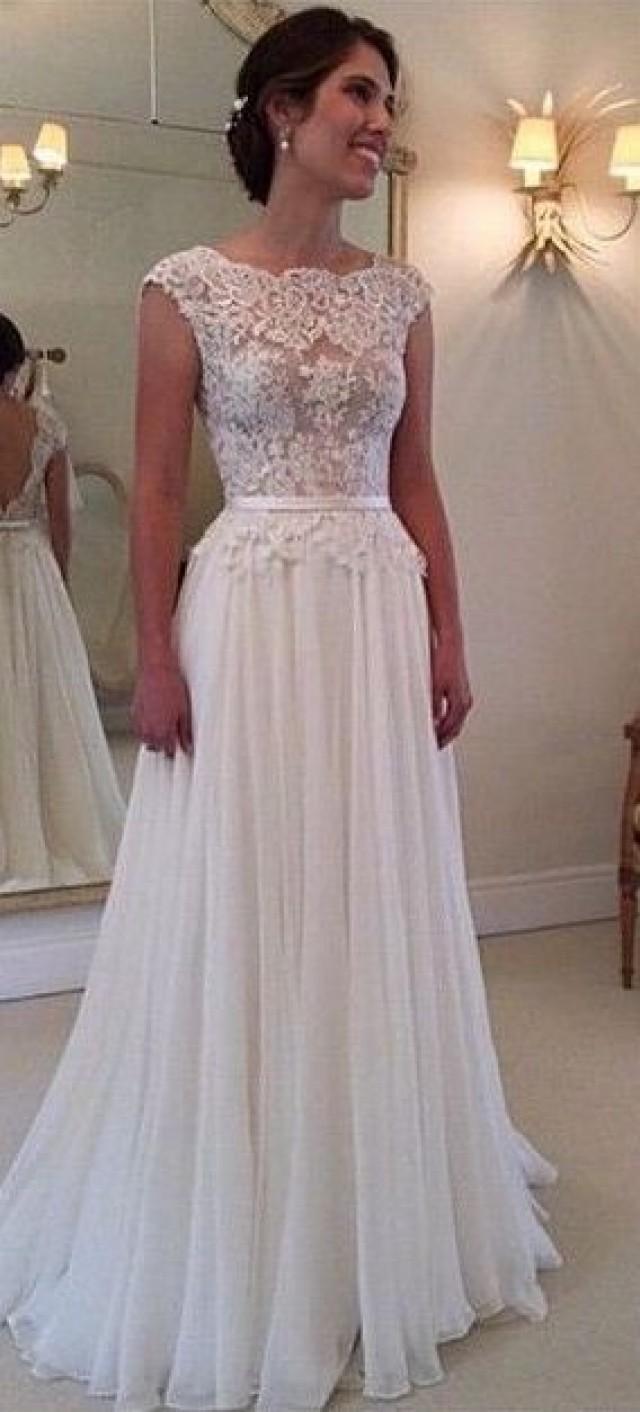 Shedress a line ruching floor length v back lace wedding for Floor length lace wedding dress