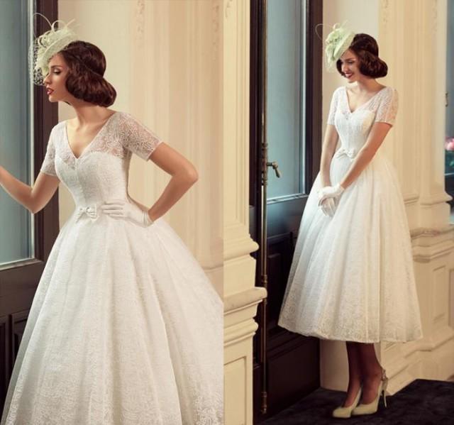 Vintage full lace tea length short wedding dresses beach for V neck tea length wedding dress