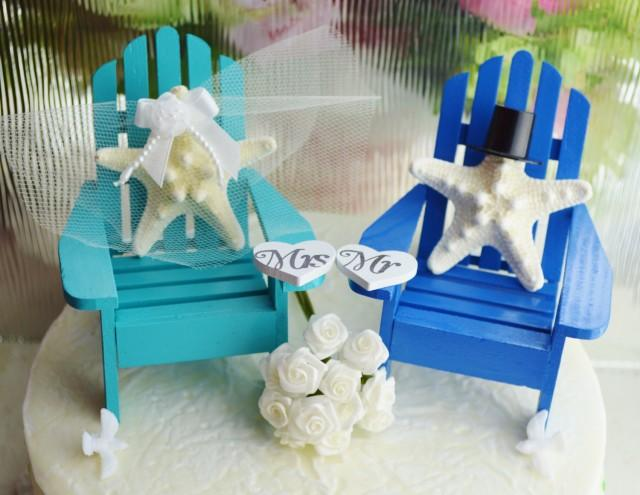 Wedding Cake Topper Aqua And Royal Blue Starfish Bride And Groom Beach Wedding Decor