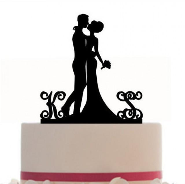 wedding photo - Custom Wedding Cake Topper Silhouette With 2 Monogram Personalized Initials for Groom & Bride, choice of color, and a FREE base for display