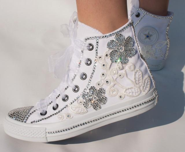 romantic wedding converse high top wedding trainers with. Black Bedroom Furniture Sets. Home Design Ideas