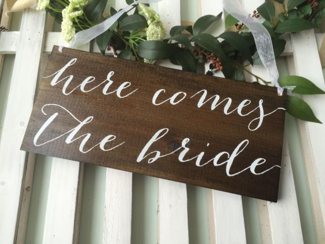 here comes the bride flower girl sign ring bearer sign rustic wedding signage rustic sign. Black Bedroom Furniture Sets. Home Design Ideas