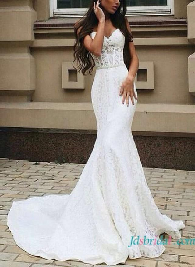 H1631 sexy illusion lace sweetheart sheath wedding dress for Sexy sheath wedding dress