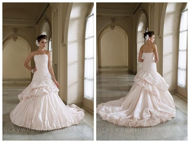 wedding photo - Strapless Full A-line Wedding Dress with Two Tiered Pick-up Skirt