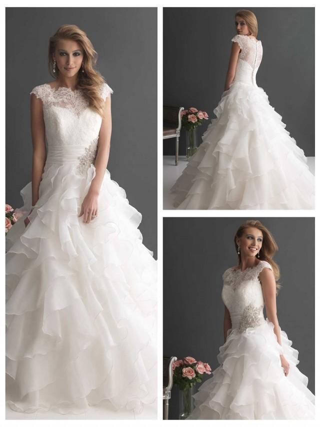 Cap Sleeves Ruffled Layered Ball Gown Wedding Dress With Ruched Band 2498521