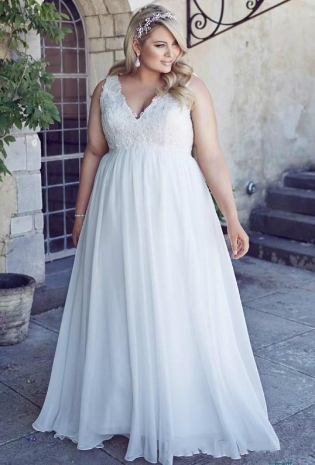 Stunnng Plus Size Beach Wedding Dresses 2016 Chiffon Garden A Line V Neck Appliques Sweep Train