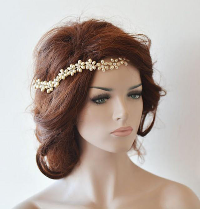 Wedding Headband Bridal Pearl Hair Vine Bridal Headband Bridal Hair Accessories Wedding Hair ...