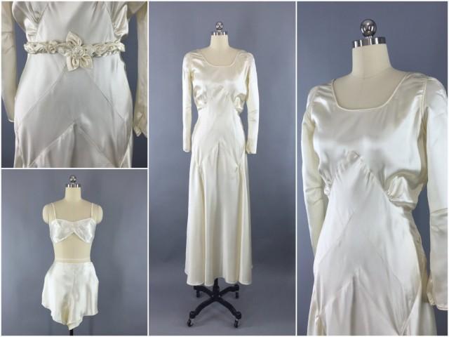 Vintage 1930s wedding dress 30s bias cut dress 1920s for White silk slip wedding dress