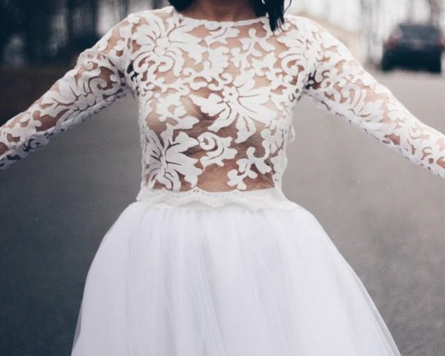 Lace top wedding top lace wedding top reception top for Cover up wedding dress
