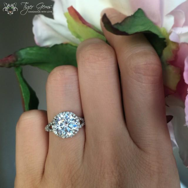 3 carat split shank halo engagement ring flawless man made diamond simulants wedding bridal. Black Bedroom Furniture Sets. Home Design Ideas