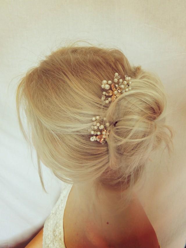 Bridal Hair With Pins : Bridal hair floral wedding headpiece