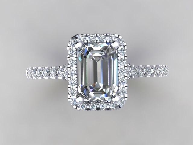 emerald cut simulate center halo engagement ring