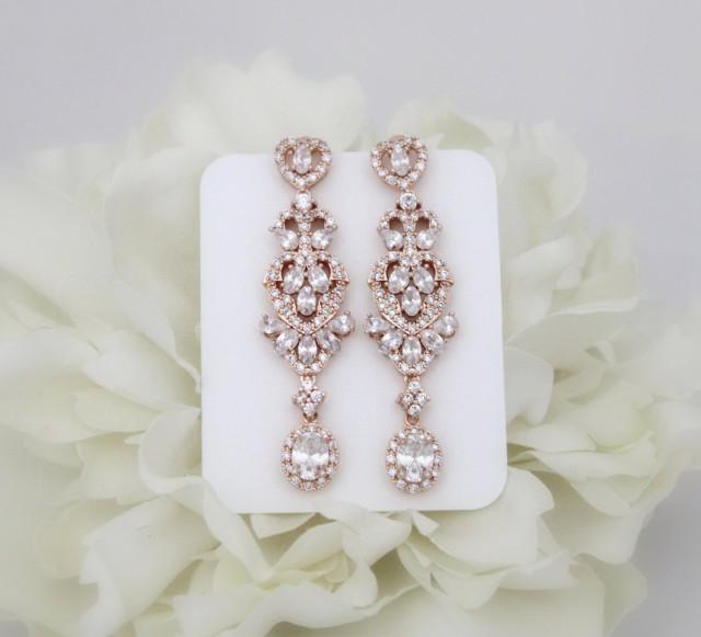 Rose Gold Bridal Earrings Crystal Wedding Jewelry Long Chandelier Cz Rhinestone 2499884
