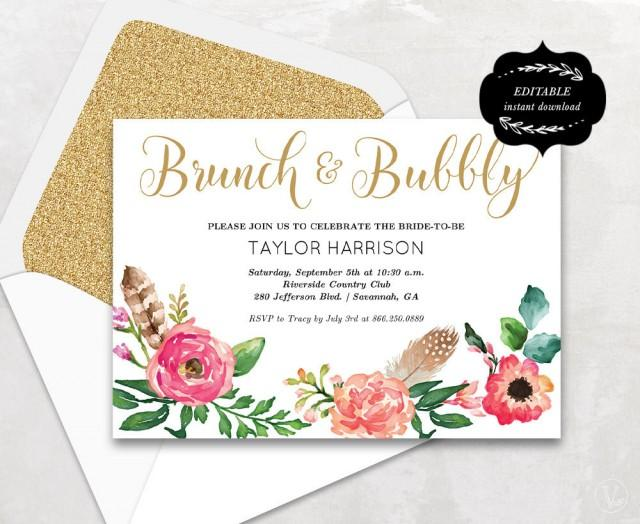 floral bridal shower template printable bridal shower invitation boho bridal shower card. Black Bedroom Furniture Sets. Home Design Ideas