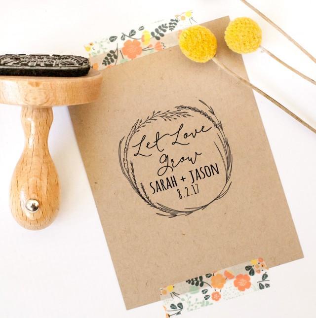 Wedding Rubber Stamps: Let Love Grow Rubber Stamp, Custom Wedding Stamp, Wedding