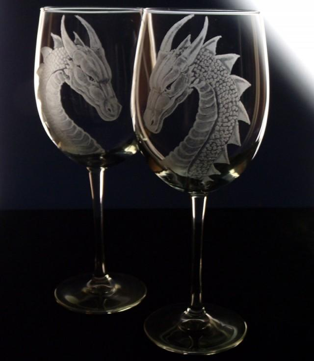 Etched Wine Glasses Wedding Gifts : Wedding Wine Glass - Dragon - Gift Set - Renaissance Wedding ...