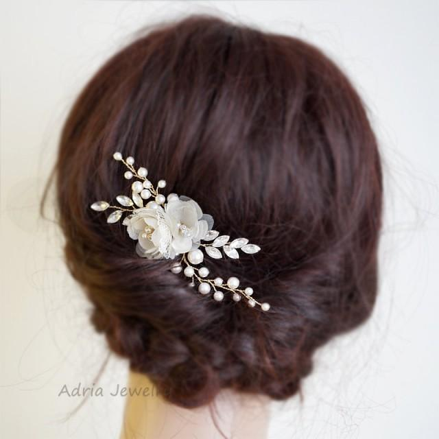Flowers For Hair Wedding Australia : Gold bridal headpieces silk flowers hair clips rhinestone pearls wedding pieces
