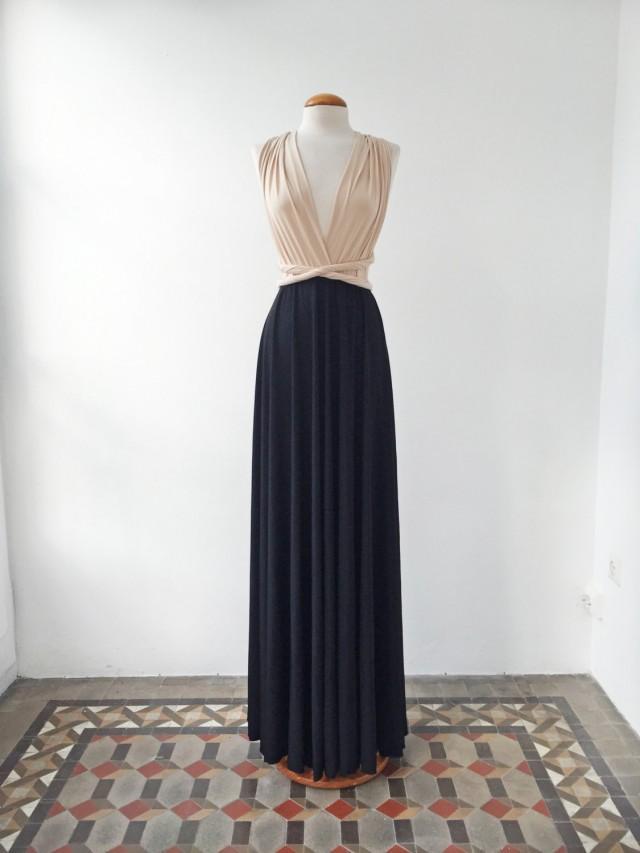 Nude black dress nude long dress black long dresses for Two color wedding dress