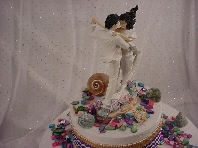 Mermaid Bride Summer Beach Wedding Cake Toppers Custom