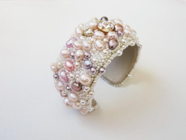 wedding photo - freshwater pearl bracelet, pearl jewelry, wedding bracelet, cuff, bracelet, gift for bride, wedding jewelry, designer bracelet