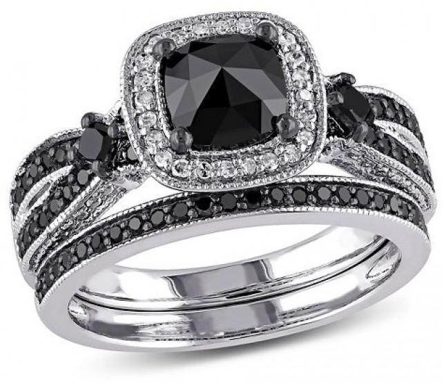 Allura 1 1 2 CT TW Black And White Multi Shape Diamond Bridal Set In Sterling Silver With