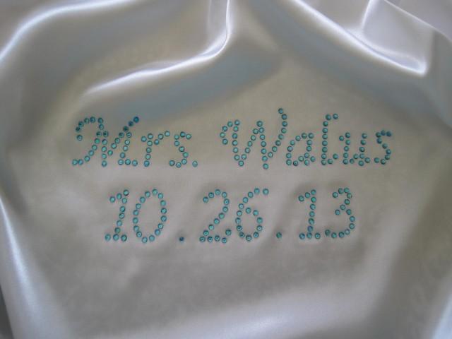 wedding photo - Personalized Bride Robe. White Satin Bride Robe. Wedding Gift. Bridal Shower. Robe for the Bride. Wedding Robe.