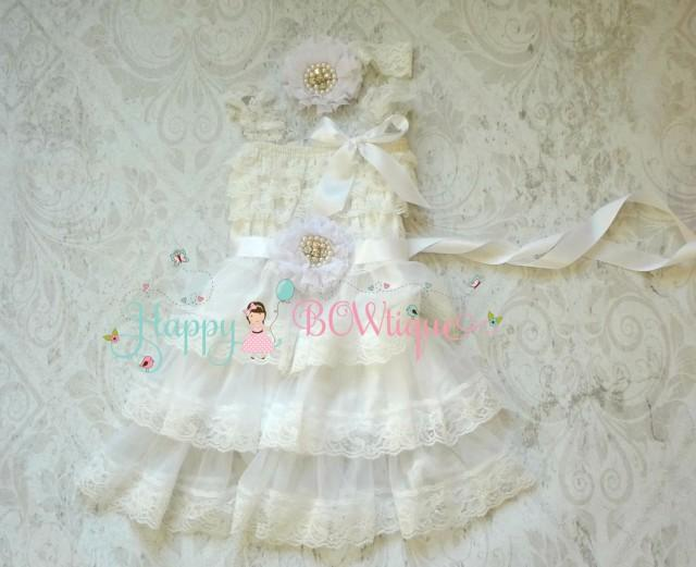 wedding photo - Flower Girl Dress, Victorian White Chiffon lace dress set, Girl white dress, Birthday dress, baptism dress,christening,girls dress,Baby Girl