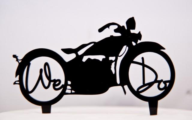 Harley Davidson Motorcycle Wedding Cake Topper With We Do In The ...