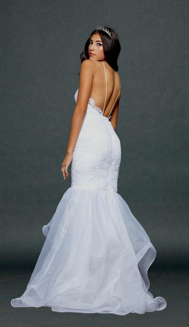 Low back trumpet shape wedding dress lace and chiffon for A shaped wedding dresses