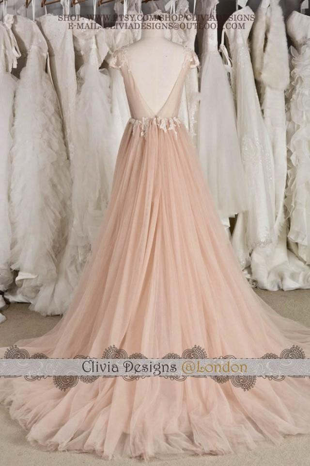 Blush cap sleeve illusion neckline backless lace tulle for Lace blush wedding dress